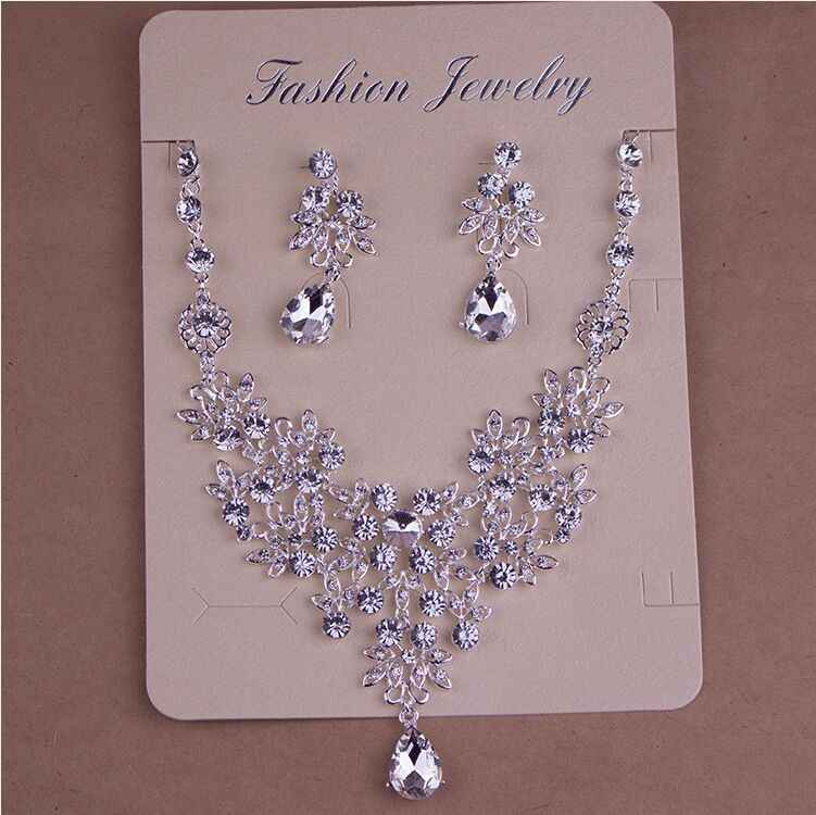 SHOSIXUAN Crystal Bridal Jewelry Sets Silver Color Rhinestone Necklace Wedding Engagement Jewelry Sets for Women