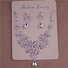SHOSIXUAN Crystal Bridal Jewelry Sets Silver Color Rhineston