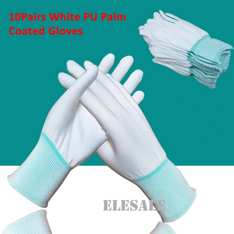 10 Pair Safety Gloves PU Palm Coated Working Gloves Anti-Static White Nylon Polyester Gloves Workplace Safety Wholesale