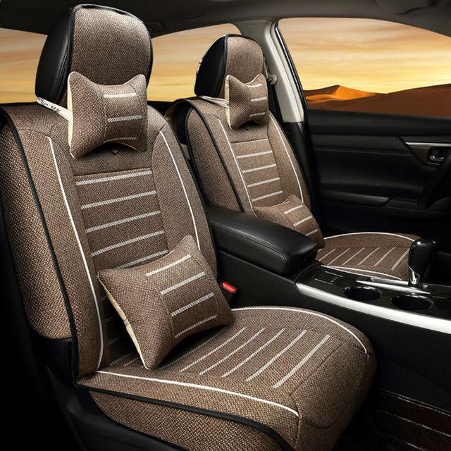 Universal Quatro Estações tampa de assento do carro apto para todas as Marcas de 5 assentos de carro 9 pçs/set linho tampa de assento set fit 4 temporada S/M/L 3 tamanho