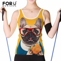 FORUDESIGNS Workout Tank Top For Ladies Kawaii Pug Dog Pattern Solid Tops Women Sleeveless Crop Tops