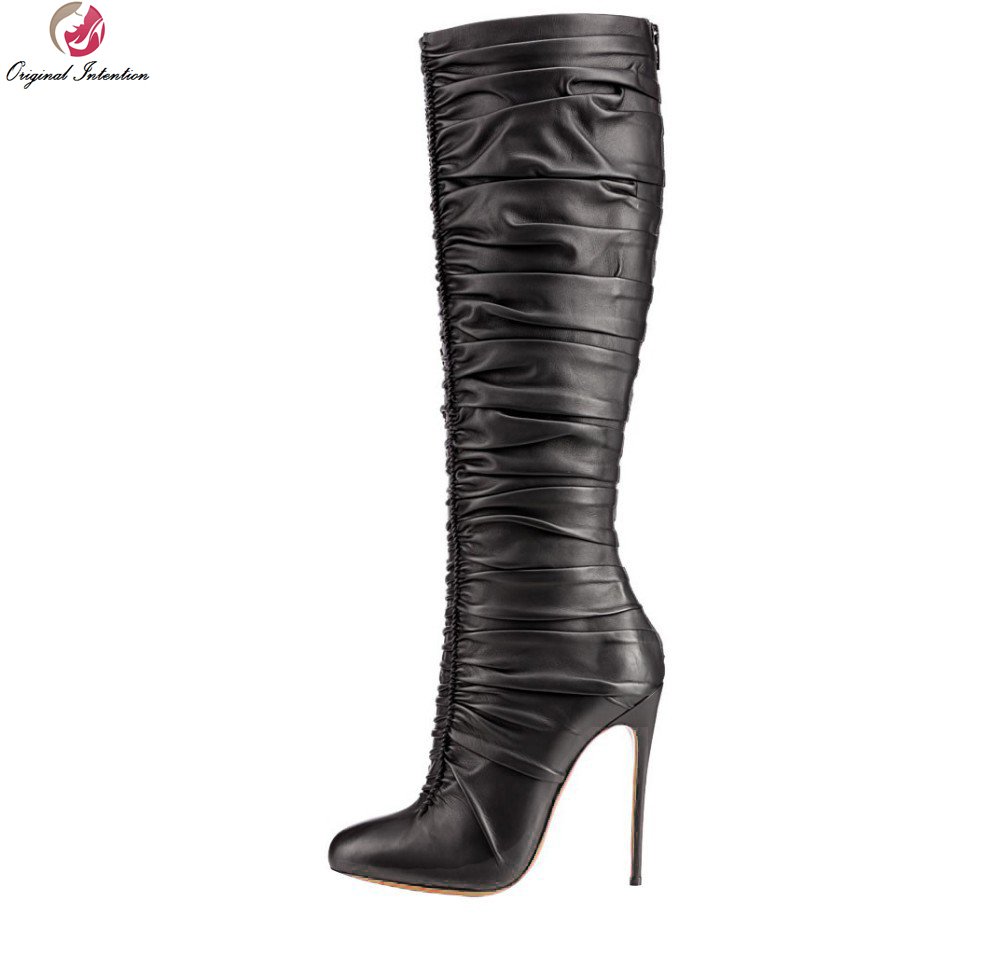 Original Intention Fashion Women Knee-high Boots Elegant Pointed Toe Thin Heels Boots Black High-quality Shoes Woman Plus Size original intention high quality women knee high boots nice pointed toe thin heels boots popular black shoes woman us size 4 10 5