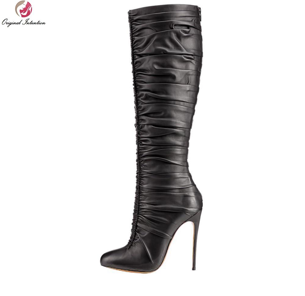 Original Intention Fashion Women Knee-high Boots Elegant Pointed Toe Thin Heels Boots Black High-quality Shoes Woman Plus Size creativesugar elegant pointed toe woman