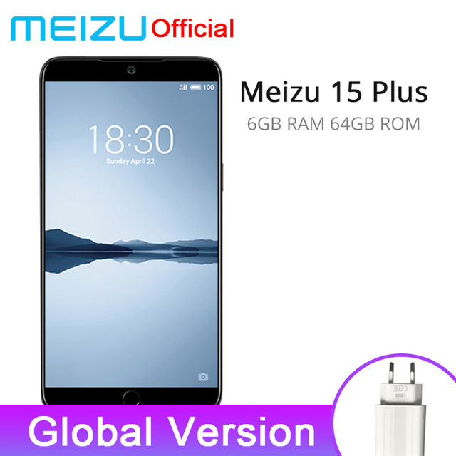 "Official Global Version Meizu 15 Plus 6GB RAM 64GB ROM SmartPhones Exynos 8895 Octa Core 5.95"" 2560x1440P Fingerprint EU Charger"