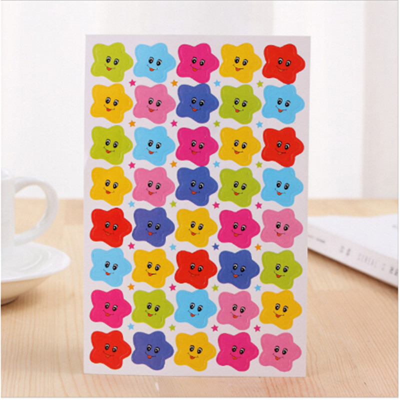 10Pcs 400 Smile Stars Decal School Children Kids Teacher Label Reward Cute Sticker For DIY Scrapbook Decor School Supplies