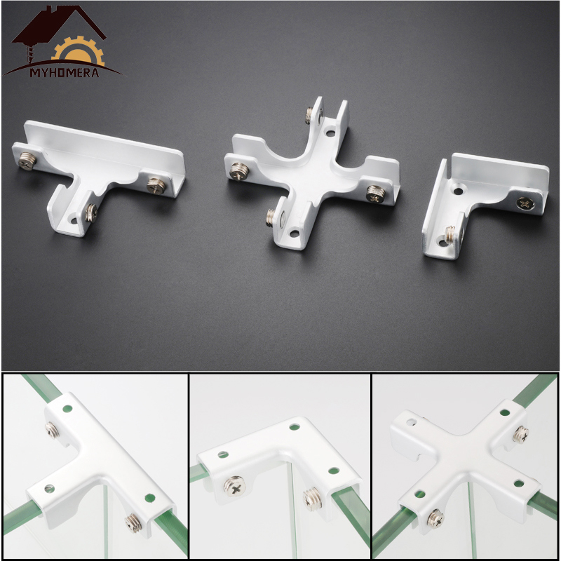 Myhomera 2Pcs Glass Clamps Shelves Holder 2-4 Ways For 6mm 10mm 12mm Thick Glass Clips Corner Bracket Clamp Showcase Aluminum