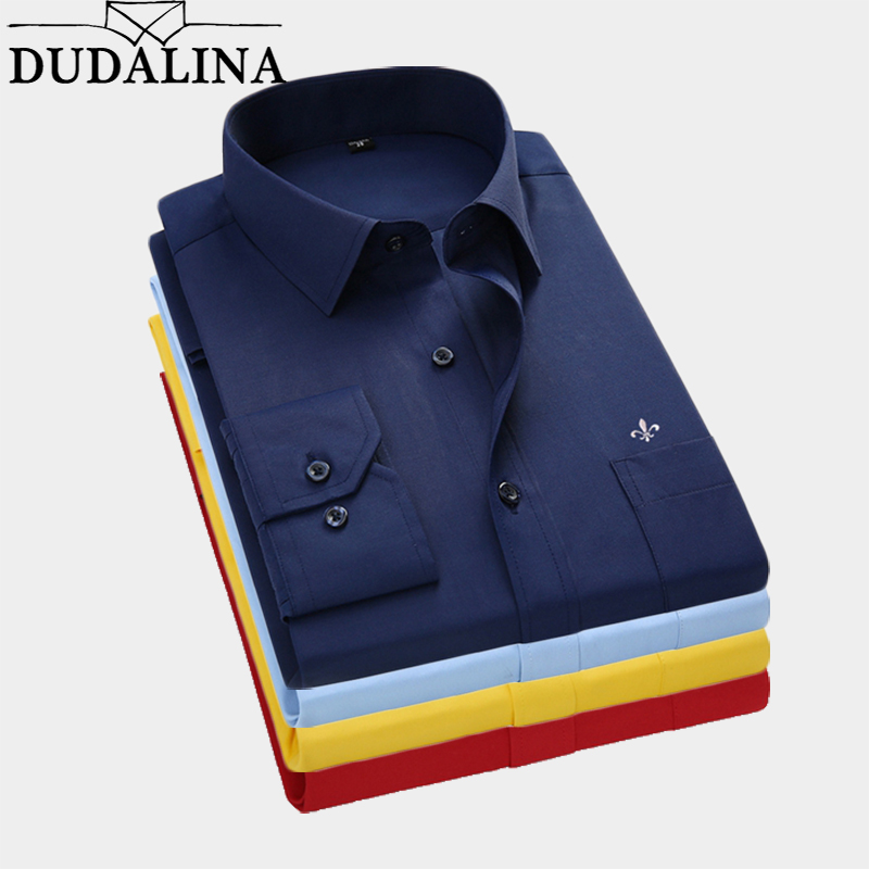 Dudalina 2020 Men Shirt Plus Size Color Pocket Long Sleeved Classical Male Shirts Formal Business Shirt Man Embroidery Logo