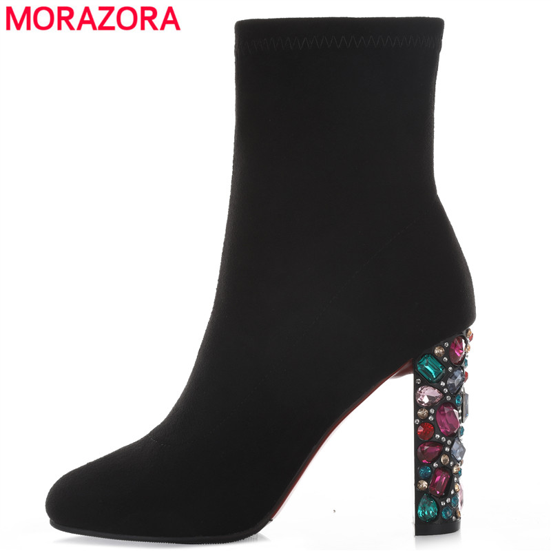 MORAZORA 2019 New Fashion Womens Ankle Boots 10cm Rhinestone High Heels Boots Sexy Ladies Short boots Female Shoes Drop ShipMORAZORA 2019 New Fashion Womens Ankle Boots 10cm Rhinestone High Heels Boots Sexy Ladies Short boots Female Shoes Drop Ship
