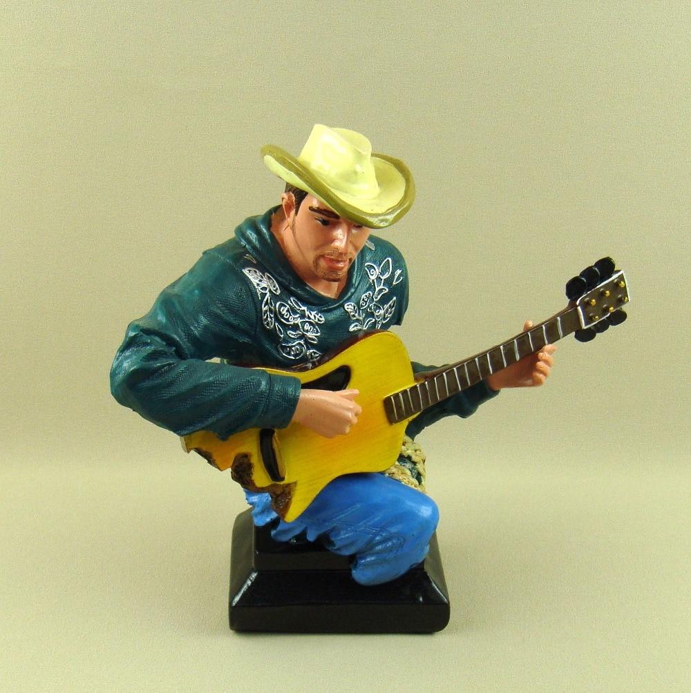Campagne Cowboy guitariste buste abstraite polyrésine guitare joueur Figure Sculpture décor Art et artisanat ornement accessoires - 6