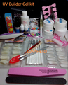 Pro Nail Art UV Gel Top Coat 7 Brush French Tips Glue Cutter File Builder Tools Kits SET