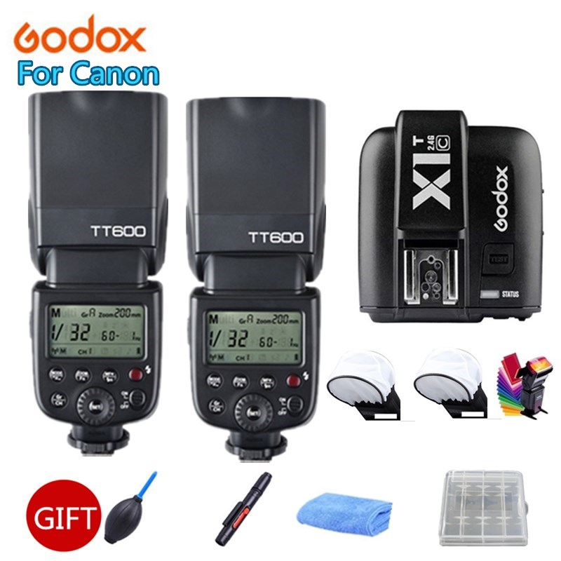2x Godox TT600 2 4G Wireless X System Camera Flashes Speedlites With X1T C Transmitter Trigger
