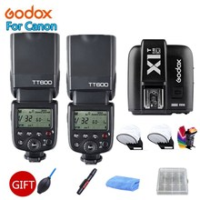 2x Câmera Flashes Godox TT600 2.4g Sistema Sem Fio X Transmissor Gatilho para Câmeras Canon Speedlites Com X1T-C + Free kit presente