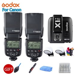 2x Godox TT600 2.4G Wireless X System Camera Flashes Speedlites With X1T-C Transmitter Trigger for Canon Cameras +Free Gift Kit