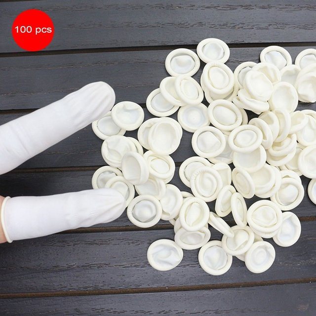 100PCS/SET Durable Natural Latex Anti-Static Finger Cots Practical Design Disposable Makeup Eyebrow Extension Gloves Tools Hot 3