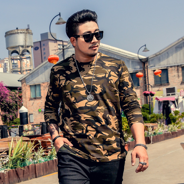 Marque grande taille 6XL hommes T-shirt à manches longues hommes ample col rond Camouflage T-shirt à manches longues militaire pour 135kg hommes