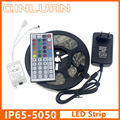 RGB LED Strip 5050 IP65 Waterproof 5M 60Led/M DC 12V Fita Led String Stripe Bar Neon Bombillas Led Lamp+12V 2A Power Adapter