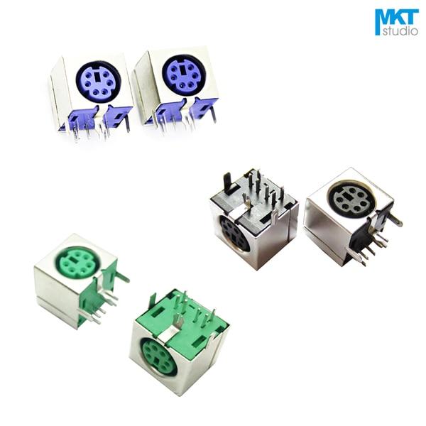 10Pcs Sample Black/Green/Purple 6 Pins PS/2 PS 2 Female Socket Jack Connector On PCB10Pcs Sample Black/Green/Purple 6 Pins PS/2 PS 2 Female Socket Jack Connector On PCB
