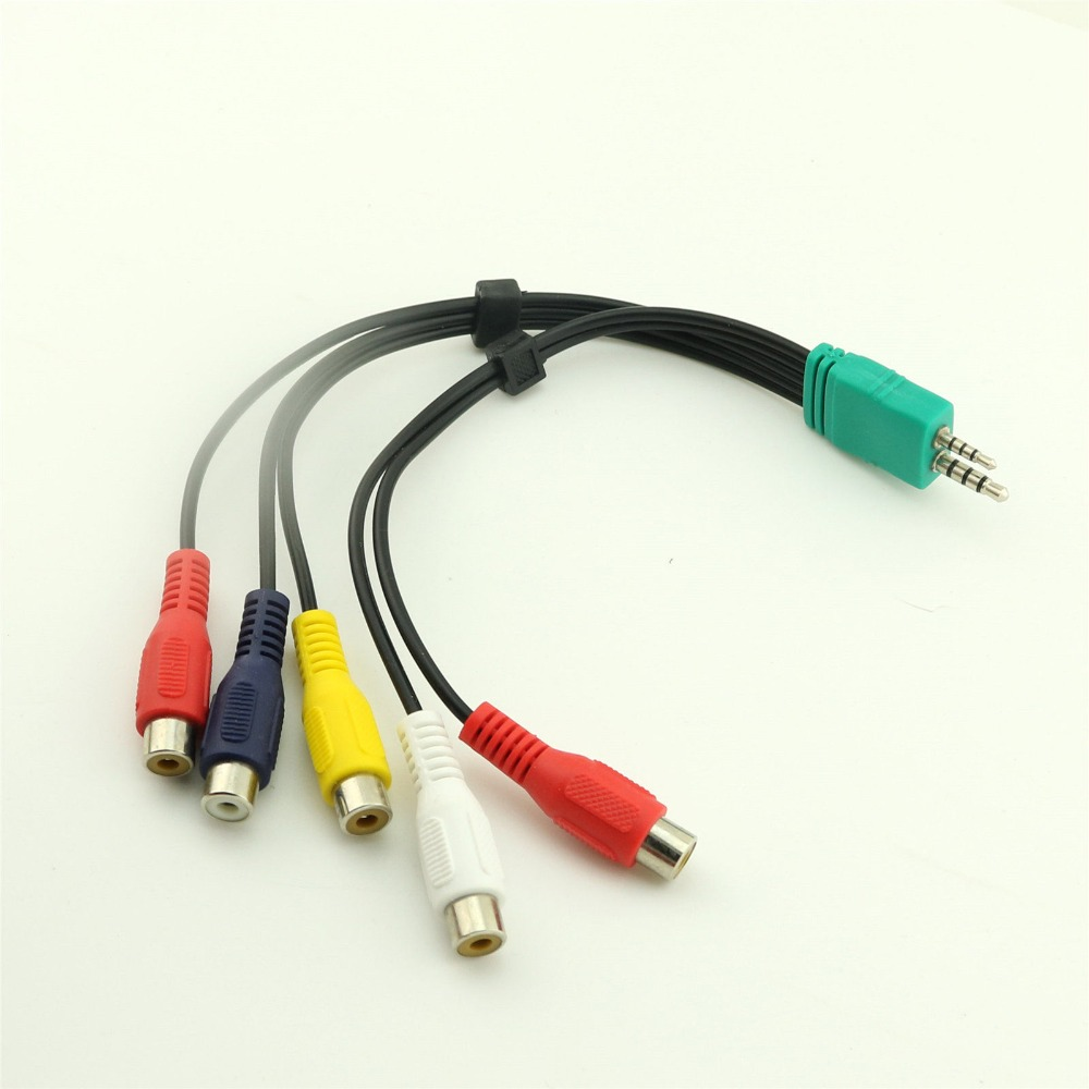 1pc 3 5mm 2 5mm To 5rca Audio Video Av Component Adapter