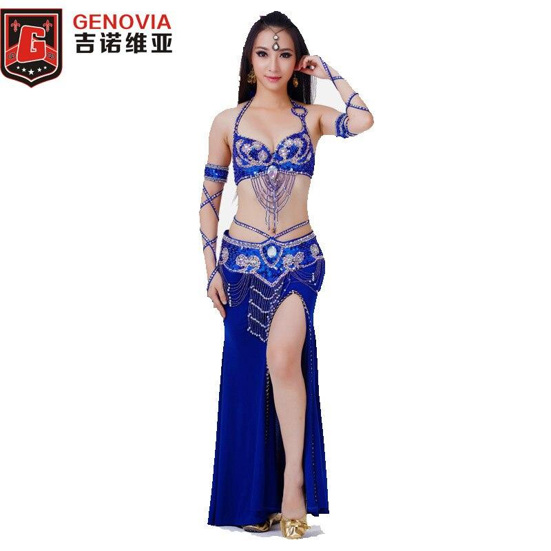 2018 scène Performance Oriental danse du ventre Costume ensemble vêtements 4 pièces Costume perle soutien-gorge et ceinture et jupe et bras manches 11 couleurs