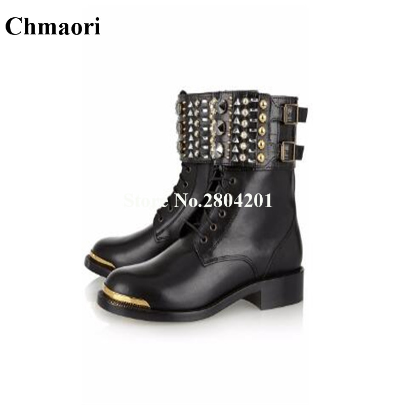 где купить Round Toe Rivets Women Boots Square Heels Solid Ankle Booties Ladies Shoes PU Leather Fashion Boots Black Shoes Women по лучшей цене