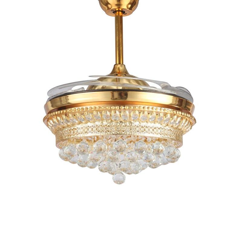 Hohe qualitySmart LED 42inch Unsichtbare K9 Kristall Decke Fan Moderne Zeitgenössische Wohnzimmer Fernbedienung Led Fan Lichter Bedr-in Deckenventilatoren aus Licht & Beleuchtung bei title=