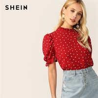Shein frisado pescoço puff manga confete coração impressão topo vermelho gola de manga curta blusa feminina elegante blusas de verão