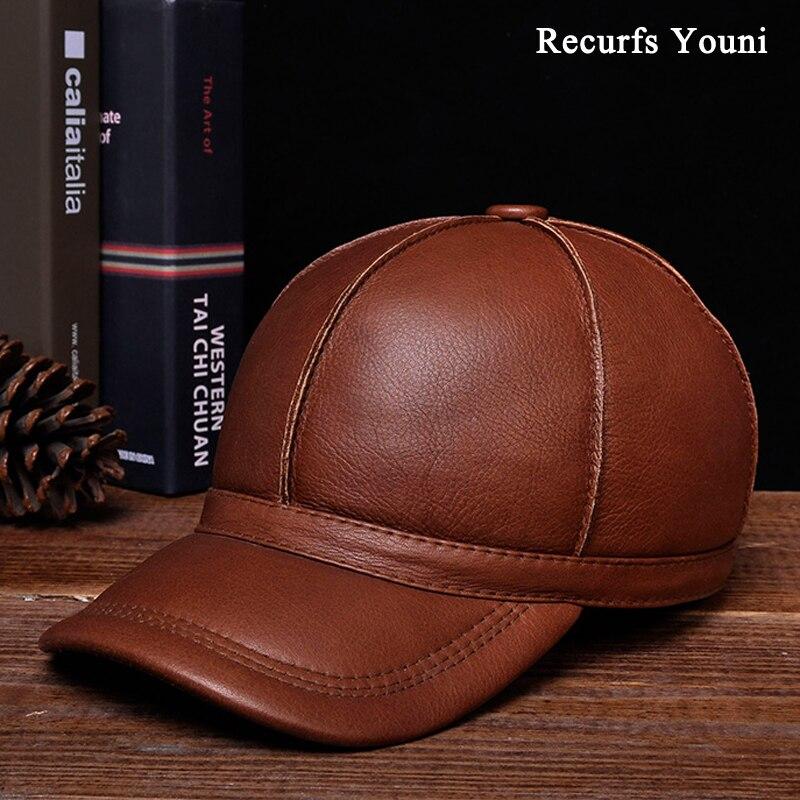 RY124 Winter Fashion Men Warm Genuine Leather Dome Striped Baseball Caps Male Casual Black Brown Hat