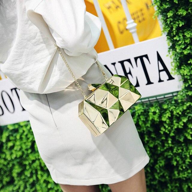 Fashion Handbags Women Metal Clutches Top Quality Hexagon Mini Party Black Evening Purse Silver Bags Gold Box Clutch 3 colors 4