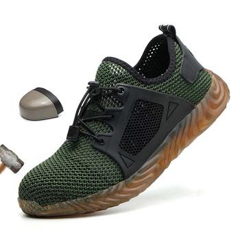Męskie buty oddychające siatkowe obuwie ochronne męskie lekkie tenisówki niezniszczalne stalowe Toe miękkie antyprzebiciowe buty robocze obuwie robocze tanie i dobre opinie NoEnName_Null Pracy i bezpieczeństwa Mesh (air mesh) ANKLE Stałe Dla dorosłych Cotton Fabric Okrągły nosek Lato Mieszkanie (≤1cm)