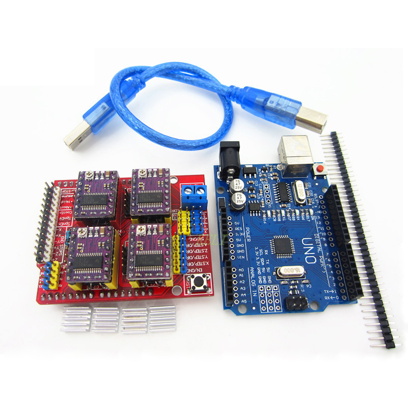 New! cnc shield v3 engraving machine 3D Printer+ 4pcs DRV8825 driver expansion board + UNO R3 with USB cable