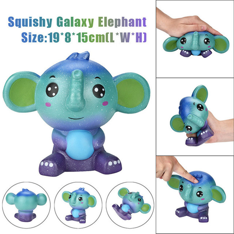 1PC Jumbo Cute Galaxy Elephant Squishy Scented Cream Super Slow Rising Squeeze Toys For Children Adults Relieves Stress Anxiety