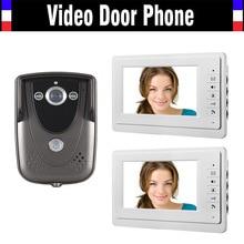 Venta al por mayor Wired 7 pulgadas 2 unids Monitor de videoportero puerta timbre del teléfono sistema IR cámara de visión nocturna de la cámara del timbre 1V2