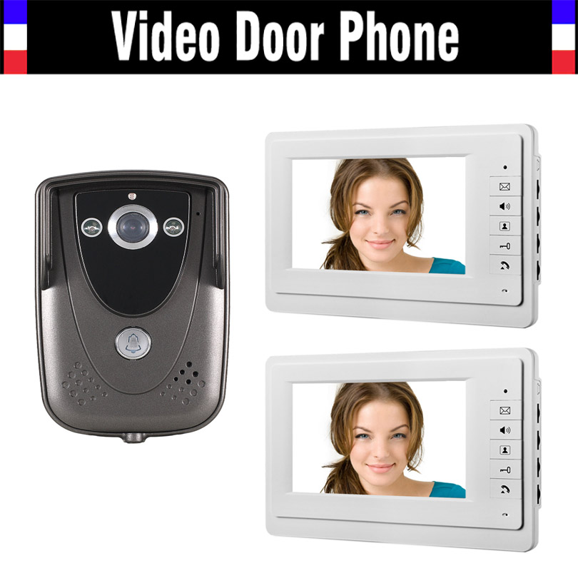 Wired 7 Inch 2PCS Monitor Video Intercom Door Phone Doorbell System IR Night Vision 900TVL Camera Video Doorphone 2-monitorWired 7 Inch 2PCS Monitor Video Intercom Door Phone Doorbell System IR Night Vision 900TVL Camera Video Doorphone 2-monitor