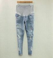 2018 Nowa Moda Wiosna I Lato Plus Rozmiar Otworów Macierzyństwo Niebieski Prop Trzymać W Ciąży Brzuch Spodnie jeansowe Spodnie M L XL XXL