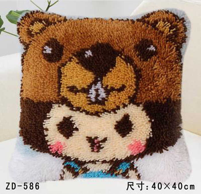 Manual Diycreative Gifts Little Bear Latch Hook Rug Kits Needlework Unfinished Pillow Yarn Cushion Embroidery Carpet