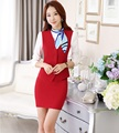 Plus Size Fashion Spring Fall Professional Work Suits With Vest And Skirt Ladies Office Outfits Blazers Sets Women Skirt Suits