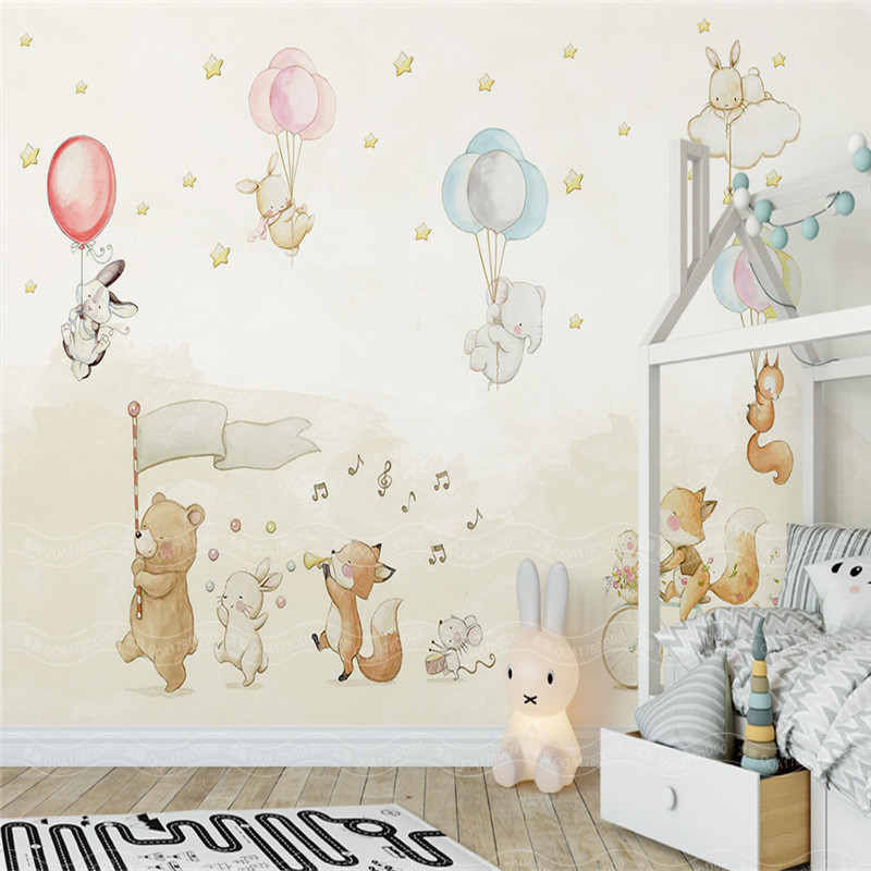 Cartoon Animals Children Wallpapers 3D Murals Custom Photo Wallpapers for Living Room Bedroom Wall Papers Home Decor Kids Room circle mirror photo wallpapers 3d modern abstract murals wall papers home decor wallpapers for living room wall paste wall mural