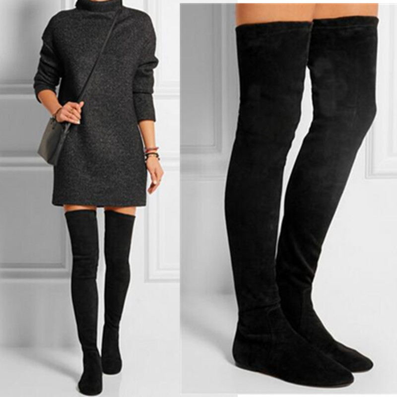 Plus Size Thigh High Flat Boots - Boot Hto