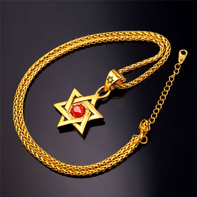 Star of David Pendant with Red Stone
