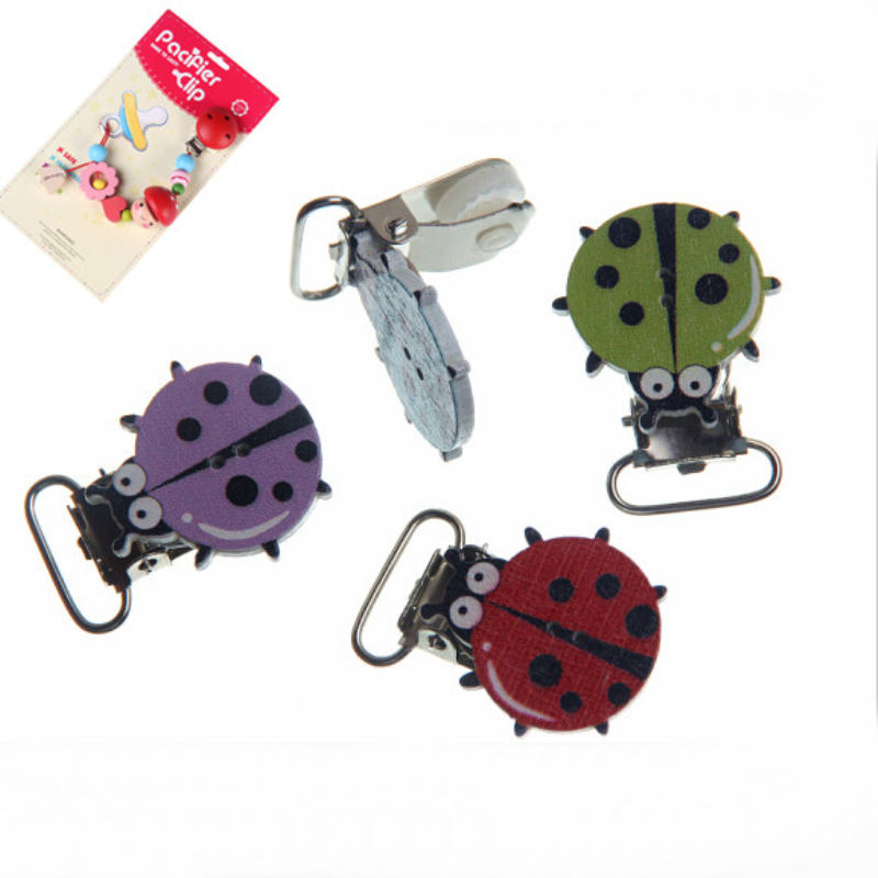 5Pcs Mixed ladybug Pattern Wood Baby Pacifier Clip Wood Metal Holders Infant jewelry findings & components Diy