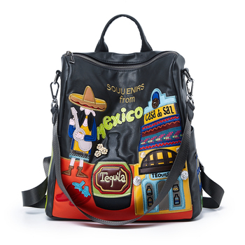 Women Leather Patchwork Embroidery Backpack Preppy Style Schoolbag Travel Bag Totes Braccialini Style Handicraft Cartoon Mexico