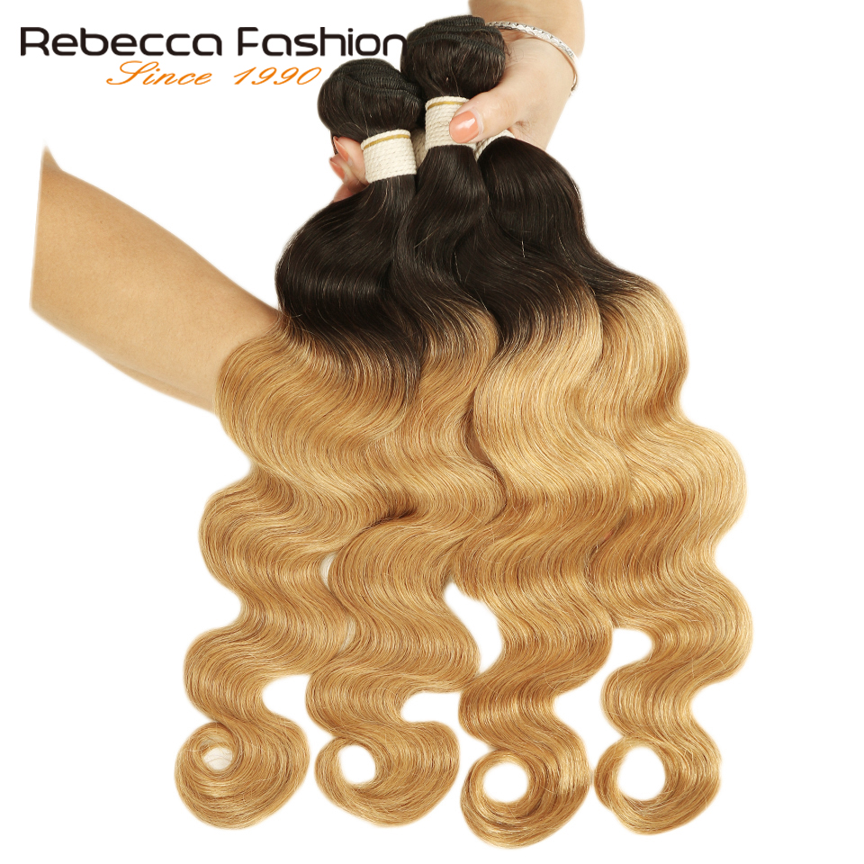 Rebecca Ombre Peruvian Body Wave Bundles 3/4 Pcs Remy 100% Human Hair Bundles 2 Tone Color T1B/27# T1B/30# T1B/99J#