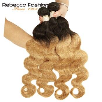 Rebecca Ombre peru doczepy typu body wave 3/4 sztuk Remy 100% wiązki ludzkich włosów 2 Tone kolor T1B/27 # T1B/30 # T1B/99J #