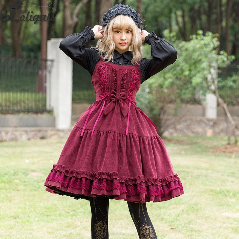 2019 Velours Doux Lolita Robe Épais Taille Haute Sans Manches Robe