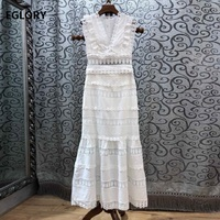 Crop Sets 2019 Spring Summer Casual Party Sexy Two Piece Set Women V Neck Lace Patchwork Crop Tops+White Long Skirt Suit & Sets