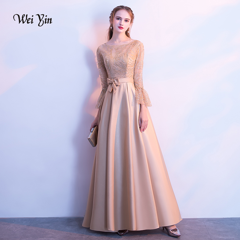 weiyin 2019 New   Evening     Dress   The Banquet Elegant Gold Half Sleeves Satin Sequins Long Party Formal Gown WY1210