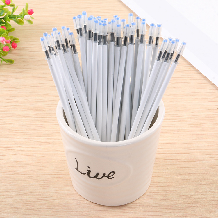 10PCS/Lot White Color Shell Gel Pen Refills 0.5mm Black Ink Kawai Pattern Office Stationery Supplies 13cm Length