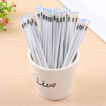 10PCS/Lot White Color Shell Gel Pen Refills 0.5mm Black Ink Kawai Pattern Office Stationery Supplies 13cm Length(China)