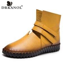 Drkanol Handmade Da Thật Chính Hãng Da Thoáng Mát Mùa Hè Giày Nữ Thoáng Khí Đế Bằng Nữ Ngắn Cổ Chân Giày Plus Size 35- 43
