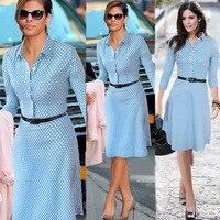 Dot Print Koszula Sukienka Vestidos Niebieski Trzy Czwarte Rękawem Pracy OL Strój Pani Urząd Linii Formalna Kobiety Sukienka Wysoka Jakość S-XXL